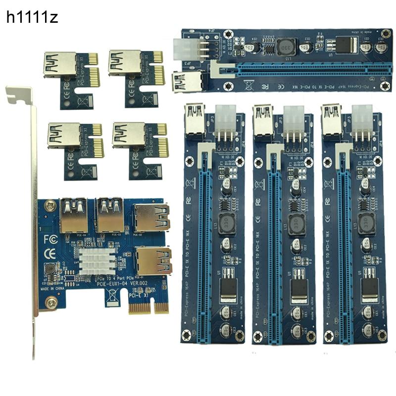 Новый добыча карты PCIe 1 до 4 pci express 16x Слоты Riser Card pci-e 1x к 16x внешний слот pci-e адаптер Порты и разъёмы множитель для BTC
