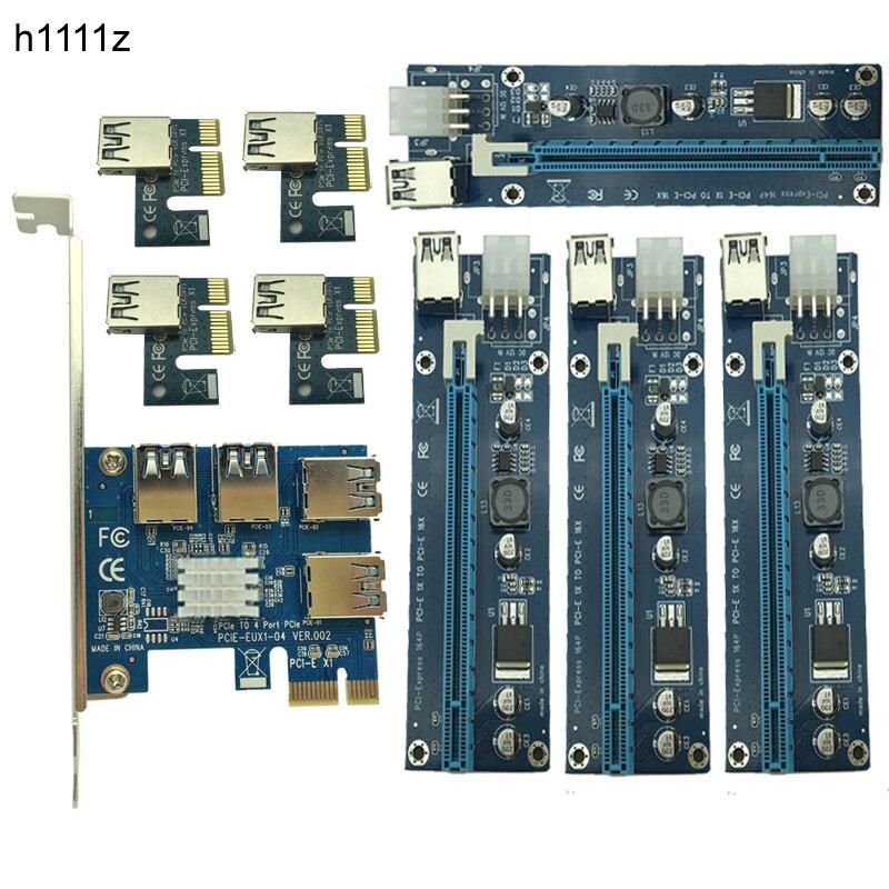 Nueva minería tarjeta PCIe 1 a 4 PCI Express 16X ranuras Riser Card pci-e 1X a 16x externa ranura pci-e adaptador multiplicador de puertos para BTC