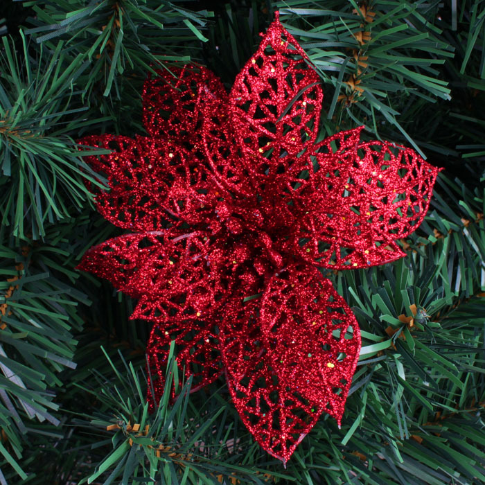 wholesale 10pcslot blue glitter christmas ornaments artificial christmas flowers poinsettia christmas tree decoration in trees from home garden on - Poinsettia Christmas Decorations