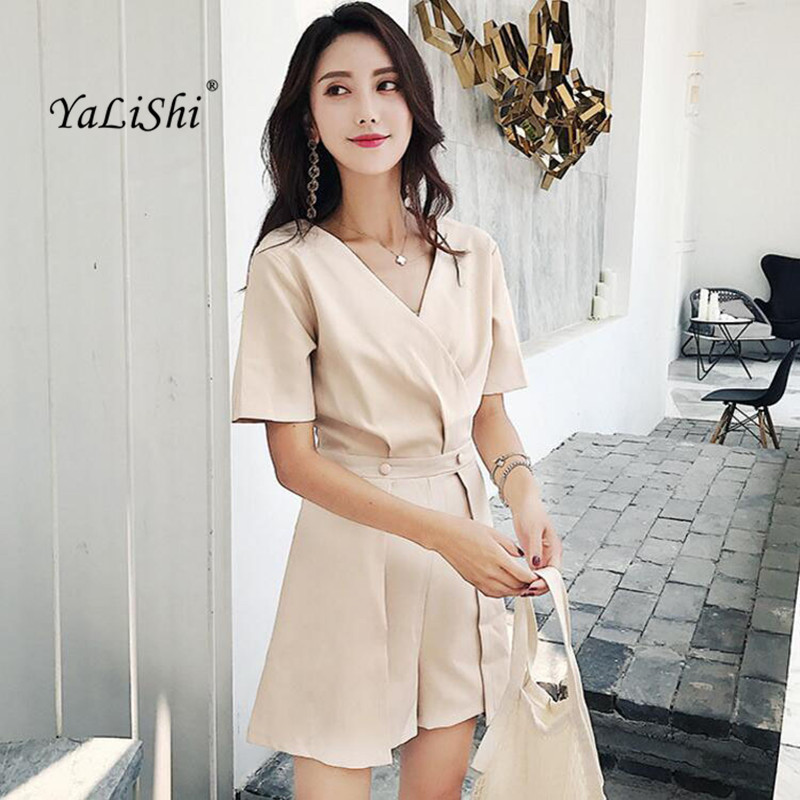 Summer Plus Size Playsuit Women Black Apricot Short Sleeve V-neck Bodysuit Casual Club Playsuit Elegant Office Lady Playsuits
