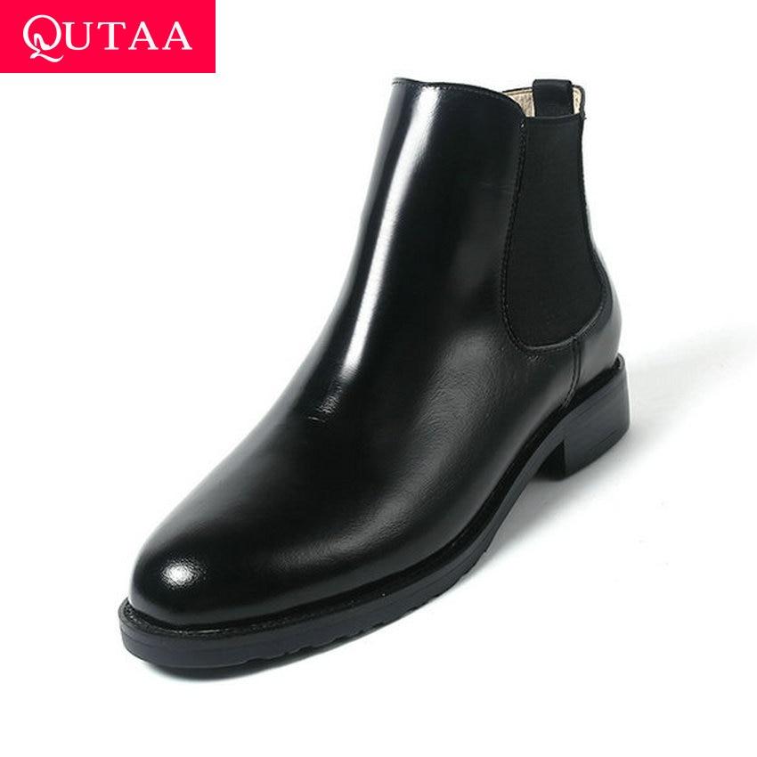 QUTAA/2020 г. модная удобная женская обувь из коровьей кожи на низком каблуке повседневные ботильоны с круглым носком и вырезами осенние полусап