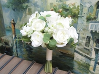Bridal bouquet White roses , Rustic Wedding Bouquet, Silk Wedding Flowers, Real to Touch roses Bridal Bouquet