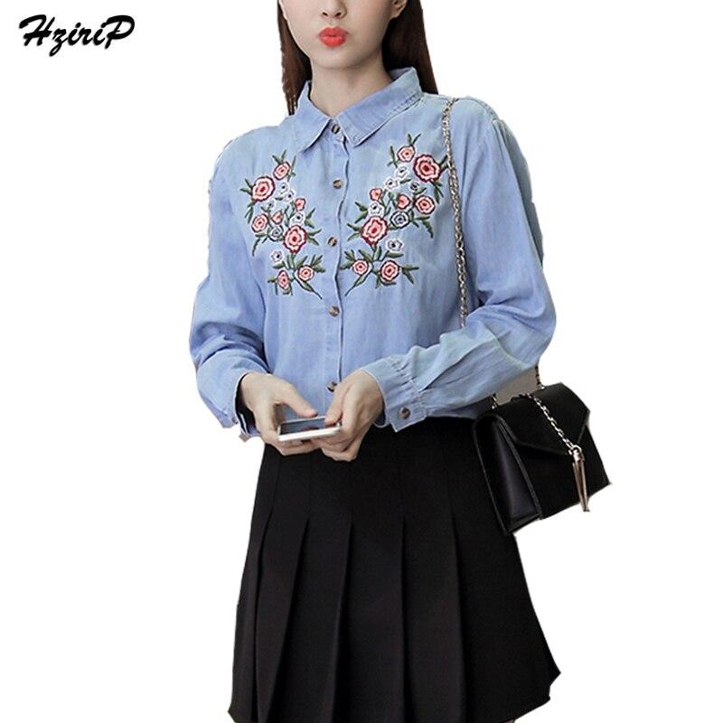 Floral Bordado Cuello de Polo Shirts Señora 2017 Nueva Primavera de La Moda Blue
