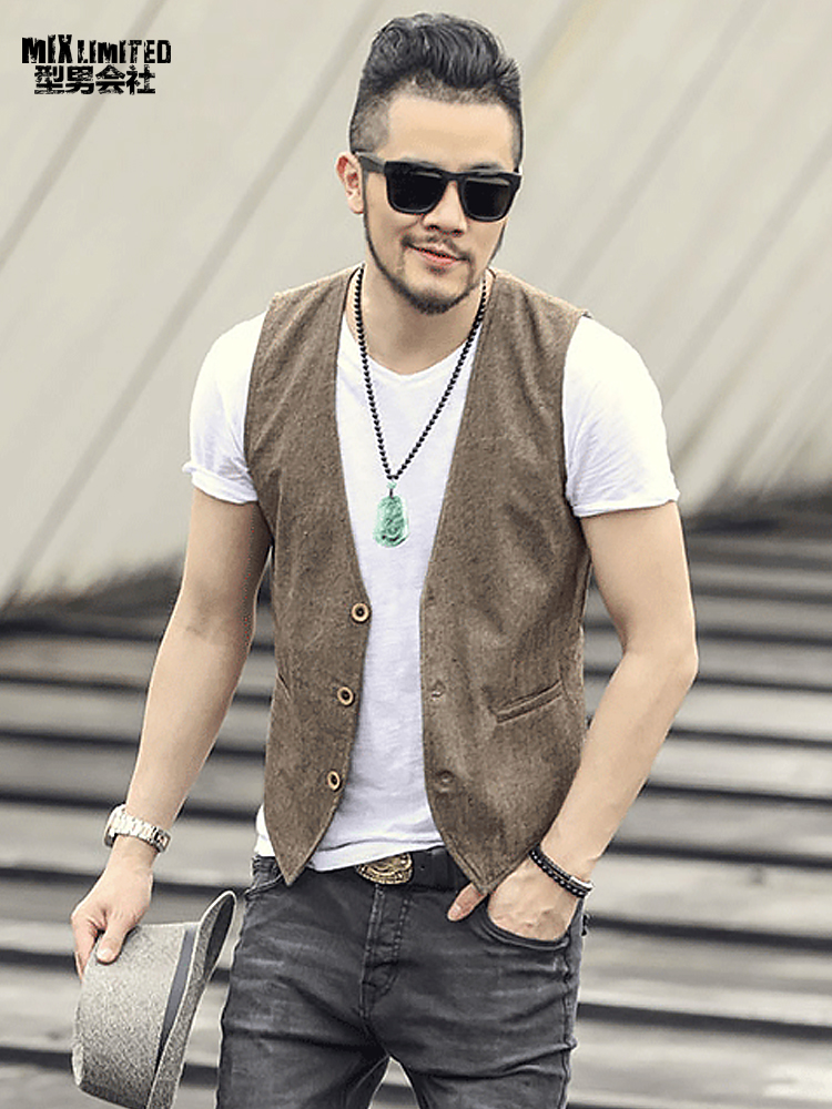 2017 new spring & summer Khaki color single breasted cotton linen vest casual mens suit vest wedding waistcoat brand clothing strength training