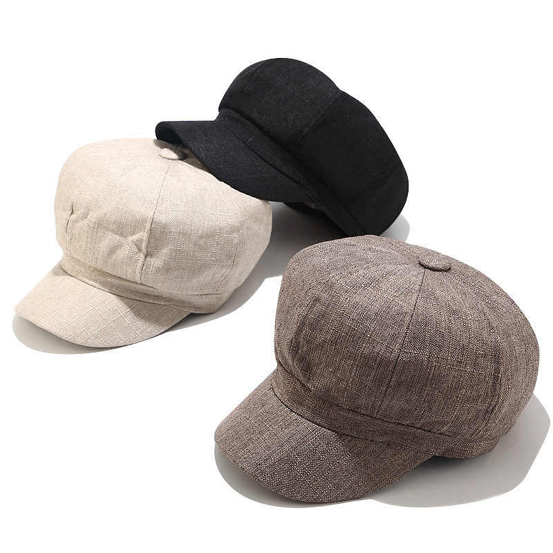 Autumn new cotton and hemp octagonal hat men and women retro cap fashion student hipster painter hat newspaper bonnet