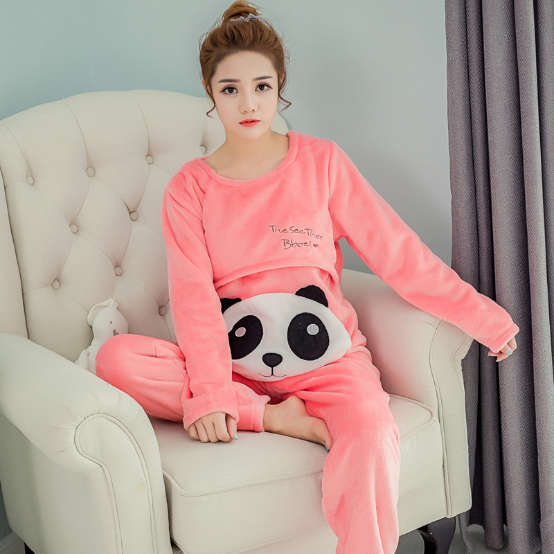 ФОТО Winter Cotton Maternity Mother Sleepwear Sets (Nursing Top+Belly Pant) Breast Feeding Pajamas Breastfeeding Lounge Suits B262