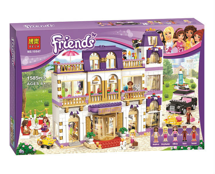 BELA 10547 Girl Series Heart Lake City Hotel Girl Friends Building Blocks Minifigures Bricks Toys Compatible