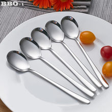 5pcs 304 Long Handle Dinner Spoons Stainless Steel Korean Coffee Teaspoon Dessert Mixing Spoon Round Soup Tablespoon 8'' 20.5cm(China)
