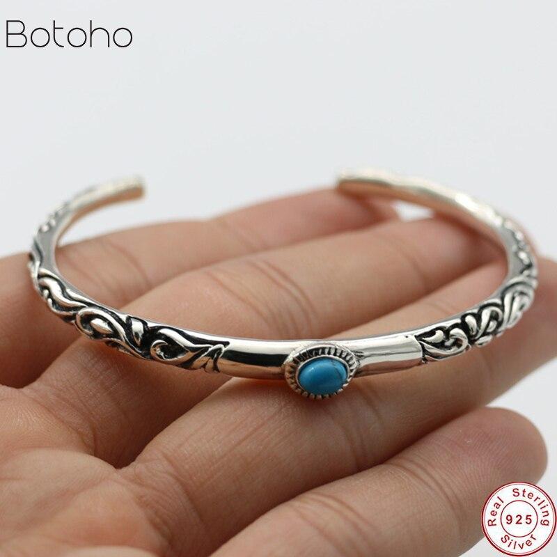 Arabesque Pattern Bangles 100% Real 925 Sterling Silver Bracelet Bangle for Men or Women Fine Jewelry Adjustable bracelet 2019