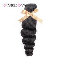 SPARKLE DIVA HAIR Loose Wave Peruvian Hair Extension 1PC Natural Color 100 Human Hair Weaving