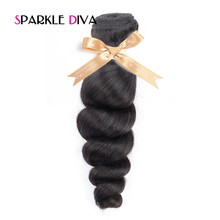 [SPARKLE DIVA HAIR] Loose Wave Peruvian Hair Extension 1PC Natural Color 100% Human Hair Weaving Remy Hair Bundles 10-28Inch
