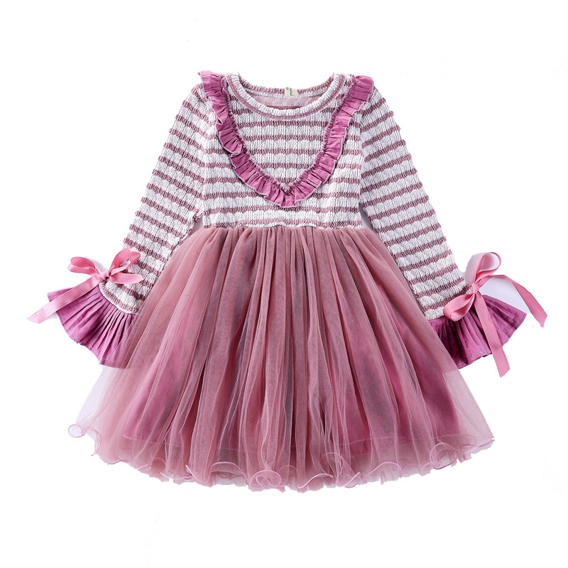 Spring Autumn Girls Dress Casual Style Striped Princess Dress Long-sleeve Mesh Dresses Children Clothing Girls Party Dress CA135