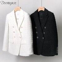 Vintage Tweed Blazer Women 2019 Spring Blend Jacket Coat Mujer Fashion Office Ladies Female White and black Blazer Coat Autumn