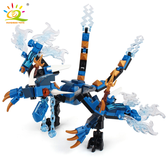 HUIQIBAO 1set Ninja Dragon Building Blocks Ninja Bricks set Action KAI JAY ZANE Cole Figures city educational Toys for Children