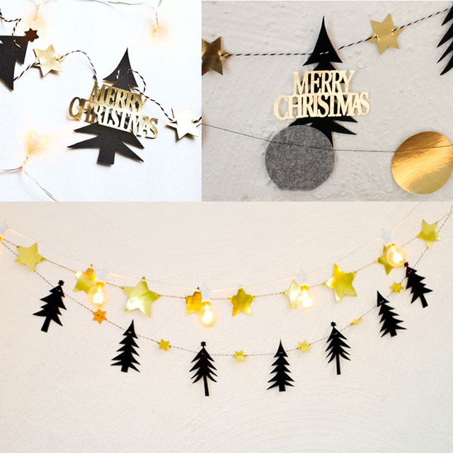 DIY Christmas Tree Gold Star Flag Hanging Banner Garland Ceiling Window Walls Hotel Non Woven