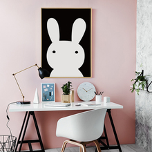 Bianche Wall Black and White Rabbit Cartoon A4 Canvas Painting Art Print Poster Picture Paintings Home Decoration