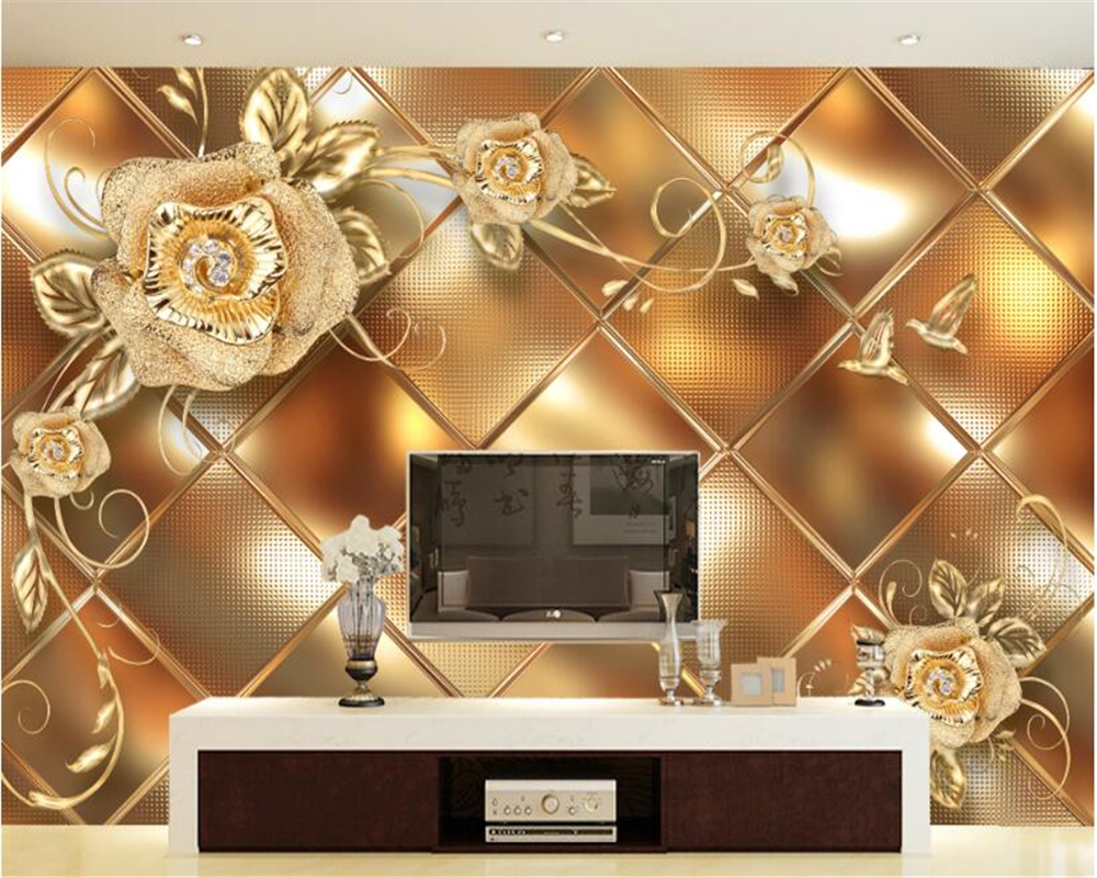 Beibehang Custom Wallpaper Living Room Bedroom Mural Gold Jewelery Rose 3D TV Wall Background Wall mural 3D wallpaepr for walls custom baby wallpaper snow white and the seven dwarfs bedroom for the children s room mural backdrop stereoscopic 3d