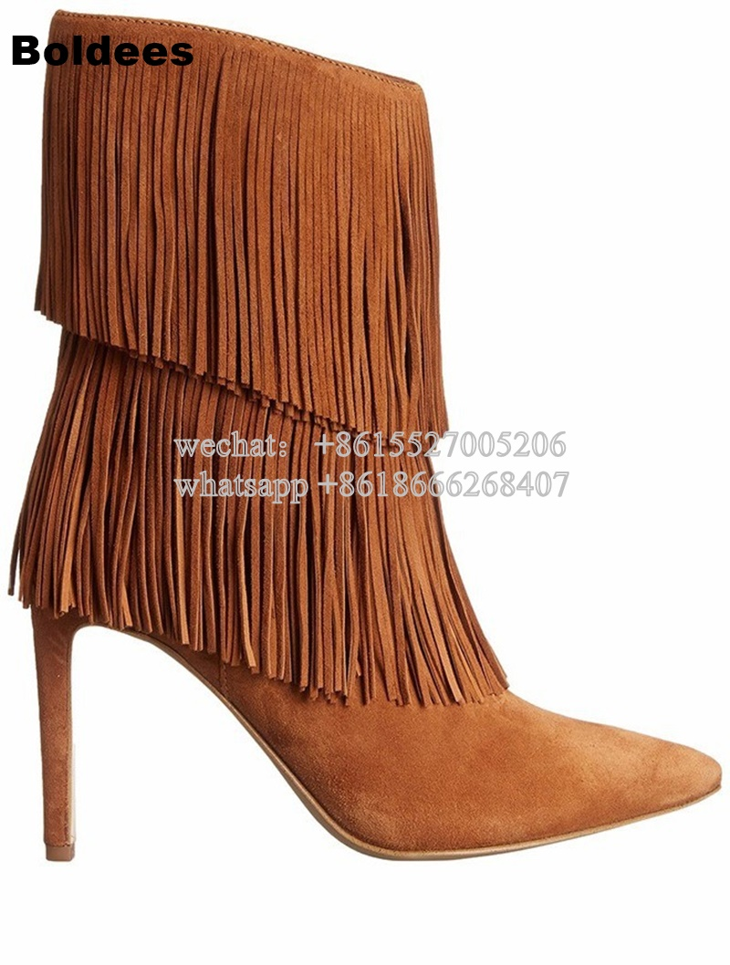 Fashion Designer Tassel Suede Leather High Heel Boots Women Mid-calf Pointed Toe Autumn Short Boots fashion tassel and cross straps design mid calf boots for women
