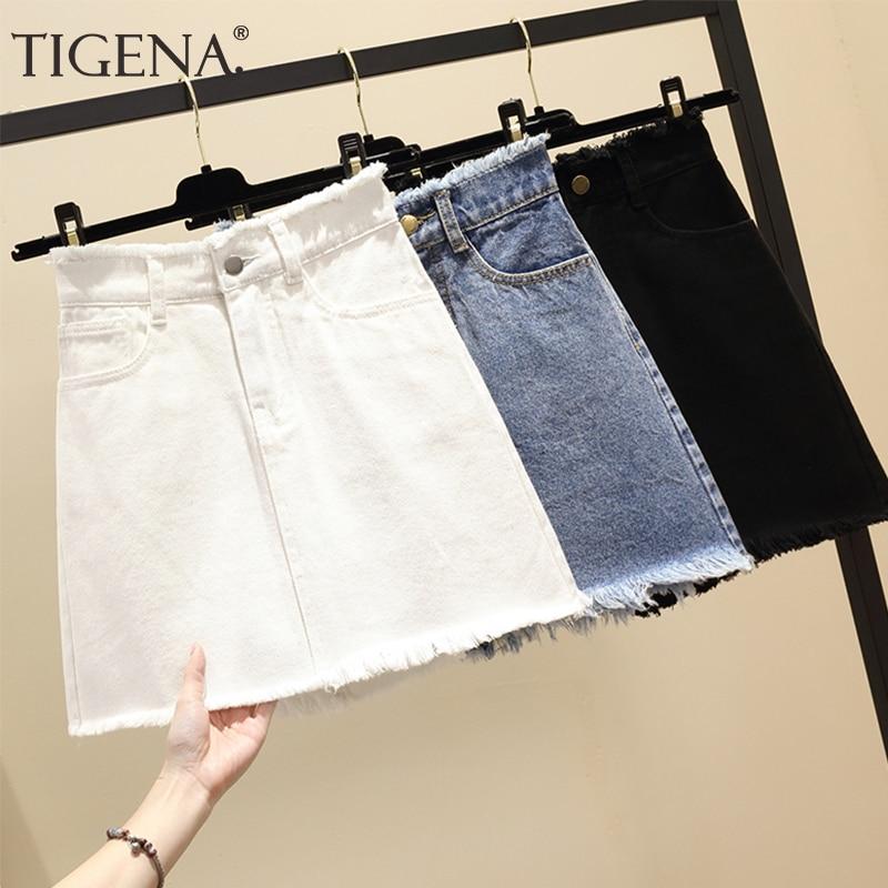 TIGENA Plus Size Mini Denim Skirt Women 2019 Summer Korean Fashion A-line High Waist Jeans Skirt Female Black White Skirt Lady
