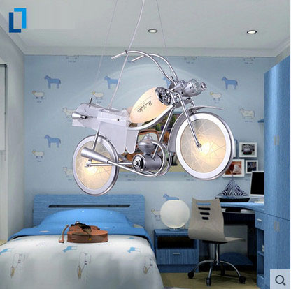 Simple Modern Motorcycle Cartoon E14 Led Pendant Light Lighting Bedroom Lights Children 's Lamps Creative LED Led Pendant Lamp led modern lighting child bedroom pendant light cartoon led pendant lights kids bedroom boy girl lamp