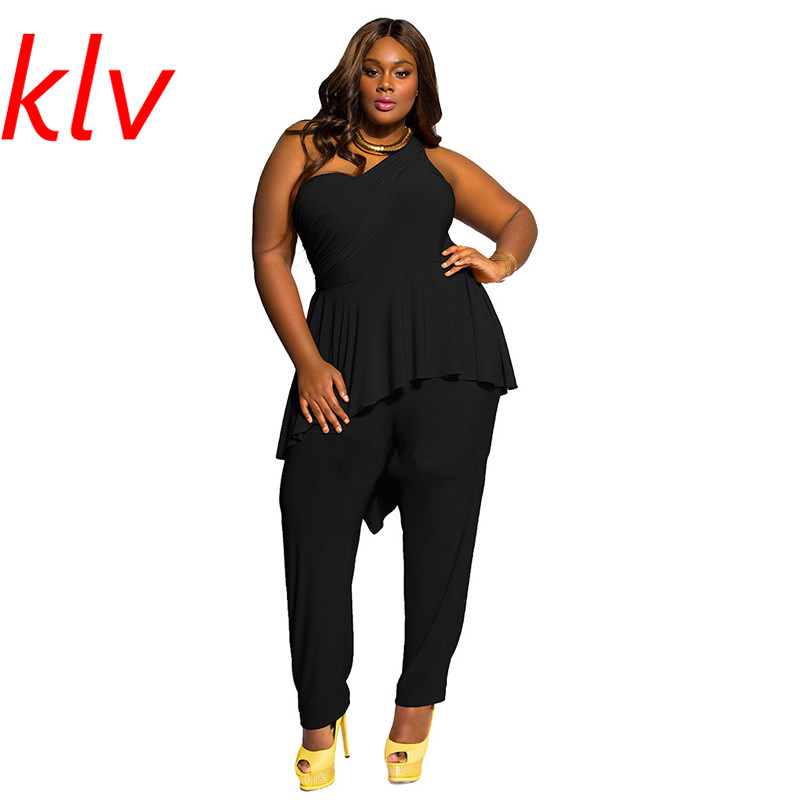 KLV New Fashion Sexy Autumn Spring Womens Casual Loose One Shoulder Black Jumpsuit Playsuit Evening Pants M-3XL