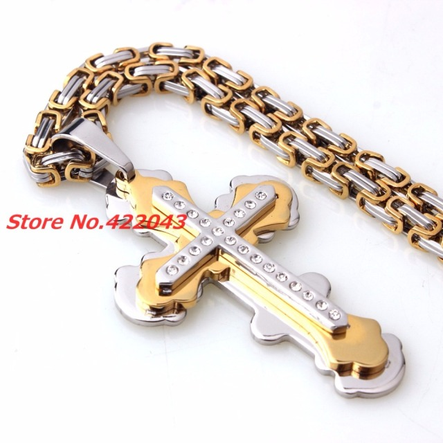 New fashion men women jewelry silver gold stainless steel cross new fashion men women jewelry silver gold stainless steel cross pendant choker necklace byzantine male vintage aloadofball