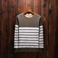 Casual Pullover Men Sweaters Knitting Men 2017 New Fashion Sweater Simple Striped O Neck Slim Fit Coat Mens Brand Clothing 3XL