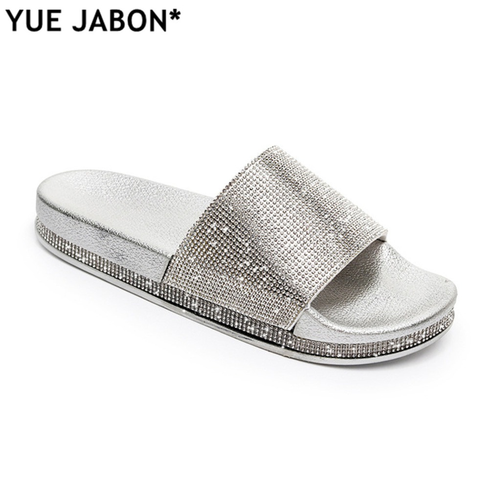 a66a14efa Rhinestone Women Slippers Flip Flops Summer Women Crystal Diamond Bling Beach  Slides Sandals Casual Shoes Platform Sandal 2018-in Slippers from Shoes on  ...