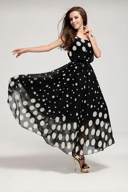 Женская Мода Шифон Горошек Печати с Высокой талией Лето Длинное Платье Пляж Макси платье S-XXXL