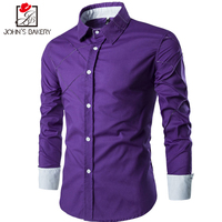 2017 New Fashion Brand Men Shirt Grid 10 Colors Dress Shirt Long Sleeve Slim Fit Camisa