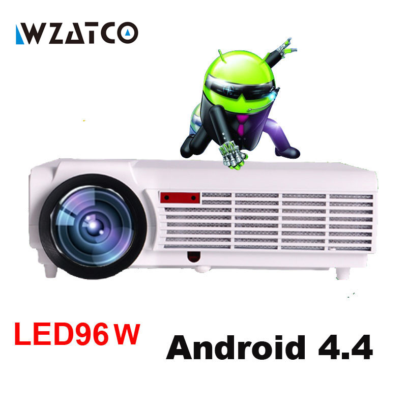 WZATCO LED96 TV Projector Full HD 1080P Android 4.4 Wifi smart RJ45 3D Home theater Video Proyector LCD Projector Beamer for KTV everyone gain blu ray 3d smart android projector wifi bt dlp tv led home theater proyector with touch button dh a70 beamer