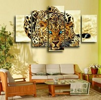 5pcs Leopard Animal Landscape Pasted DIY Diamond Painting Cross Stitch Kits Full Drill Resin Ribbon Embroidery