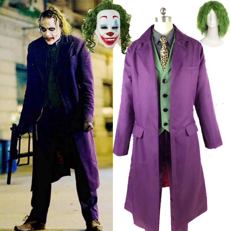 Batman The Dark Knight Joker Cosplay Costume Movie Suicide Squad Joker Heath Ledger Cosplay Suit Purple Jacket Uniform Full Set
