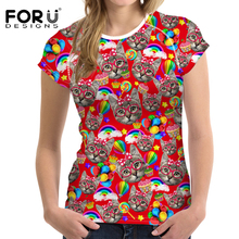 FORUDESIGNS 2017 New High Quality Tumblr Animal Cat Printed T Shirt Women Plus Size Clothes Tops for Female Short Sleeve T-Shirt