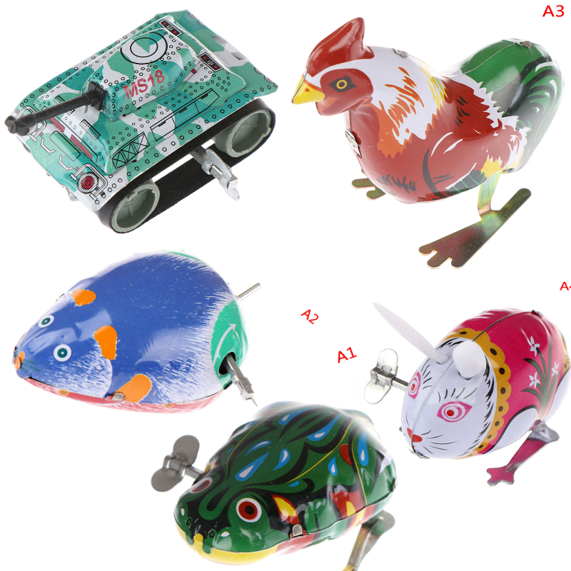 Kids Classic Tin Wind Up Clockwork Toys Jumping Iron Frog Rabbit Cock Toy Action Figures Toy For Children Kids Classic Toy