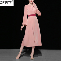 2018 Autumn Fashion Elegant High Waist O Neck Long Sleeve Solid A Line Dress 2018 New Women Mid Calf Belted Party Dress C1997