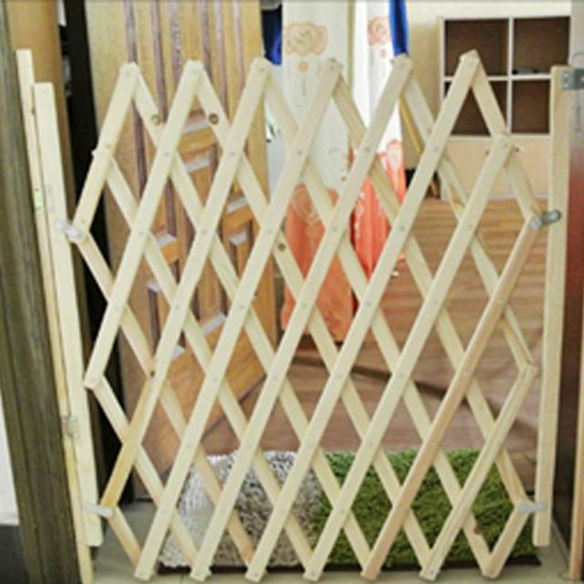 Pet Isolation Gate Simple Stretchable Wooden Fence Durable Baby Protection Pet Isolation Fence