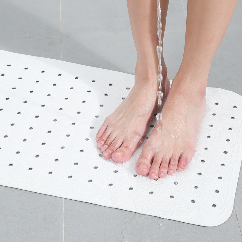 Solid White PVC Rubber Drainage Anti Slip Mat For Bathroom Waterproof Suction Cup Eco Friendly Non Slip Mat Bathtub Floor Mat