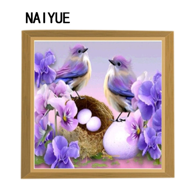 5d home use diy 5d diamond painting cross stitch two birds round diamond embroidery wall sticker