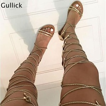 Fashion Golden Woman Leather Flat Sandals Cover Heel Cross Tied Thigh High Bandage Casual BeachWear Gladiator Shoe