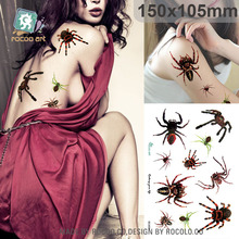 Body Art Waterproof Temporary Tattoos For Men And Women Terror Sexy Spider Design Large Arm Tattoo Sticker SC2934