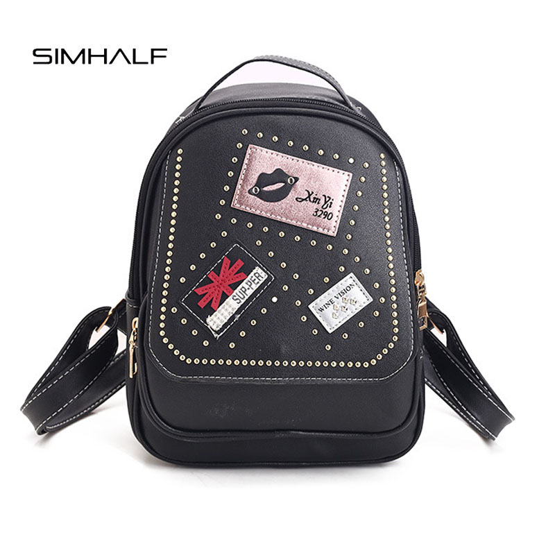 SIMHALF 2017 New Fashion Women backpack Cute Rivet badge school Children small backpack Western style Leisure