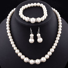 Wholesale African Jewelry Classic Imitation Pearl Necklace/Earring/Bracelet Bride Suit Jewelry Sets Parure Bijoux Femme(China)