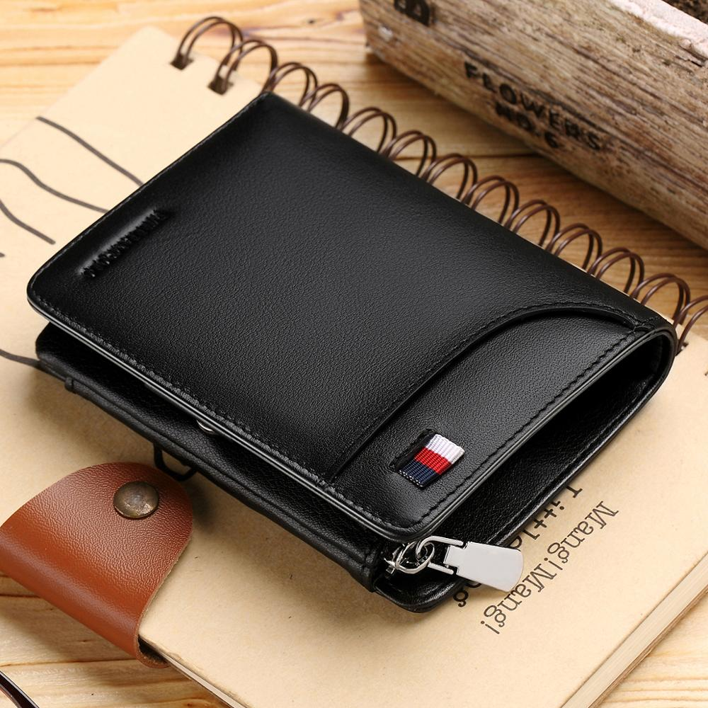 Men Wallet Cowhide Genuine Leather Slim Trifold Card Holders Coin Pocket Purse