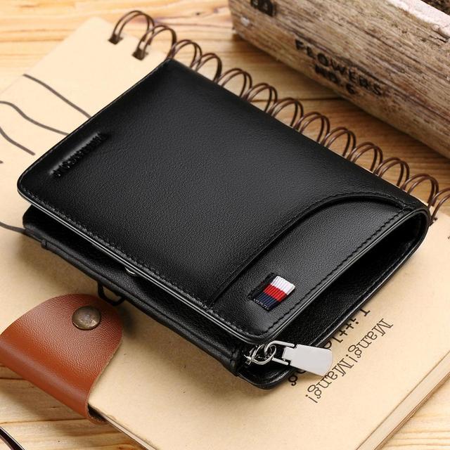 WilliamPOLO ブランドハイト本革男性財布つ折り財布ジップコインポケット財布ソフト牛革財布メンズカード財布