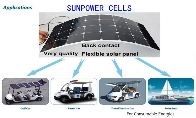 BOGUANG 4*100W 18V bendable light solar panel 12V battery charger 32pcs cell 21% efficeint high grade flexible back connection
