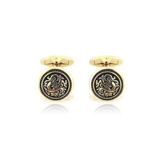 Classcal Round Gold Embossing Cufflinks New Fashion Manual High-light Shirt Sleeves Gift Convex Magic High Quality