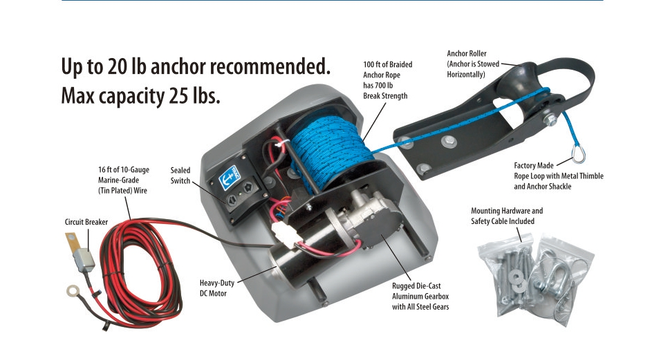 US $99 99 |For 25lbs Anchor Marine Boat Yacht Pontoon Sail Boat Heavy Duty  12V Electric Anchor Winch Freshwater Black-in Marine Hardware from