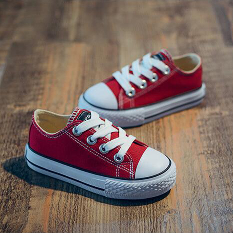 Children's Shoes Boys and Girls Low-top Canvas Shoes 2017 Autumn Breathable Anti-skid Shoes