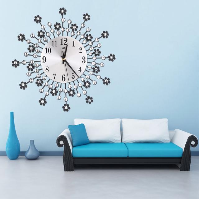 Home Decoration Large Wall Clock Inlaid Diamond Flower Living Room Silence Bedroom Metal Wall Clock